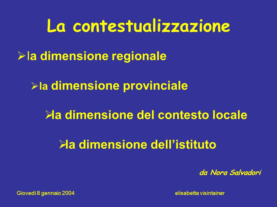 Giovedì 8 gennaio 2004 elisabetta visintainer La contestualizzazione la dimensione regionale la dimensione provinciale la dimensione del contesto loca