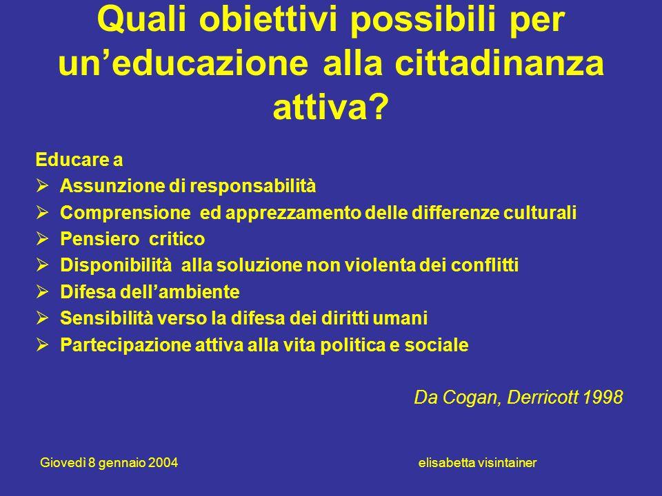 Giovedì 8 gennaio 2004 elisabetta visintainer Quali obiettivi possibili per uneducazione alla cittadinanza attiva? Educare a Assunzione di responsabil