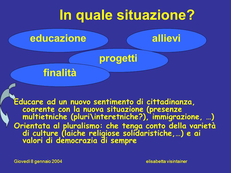 Giovedì 8 gennaio 2004 elisabetta visintainer In quale situazione? Educare ad un nuovo sentimento di cittadinanza, coerente con la nuova situazione (p