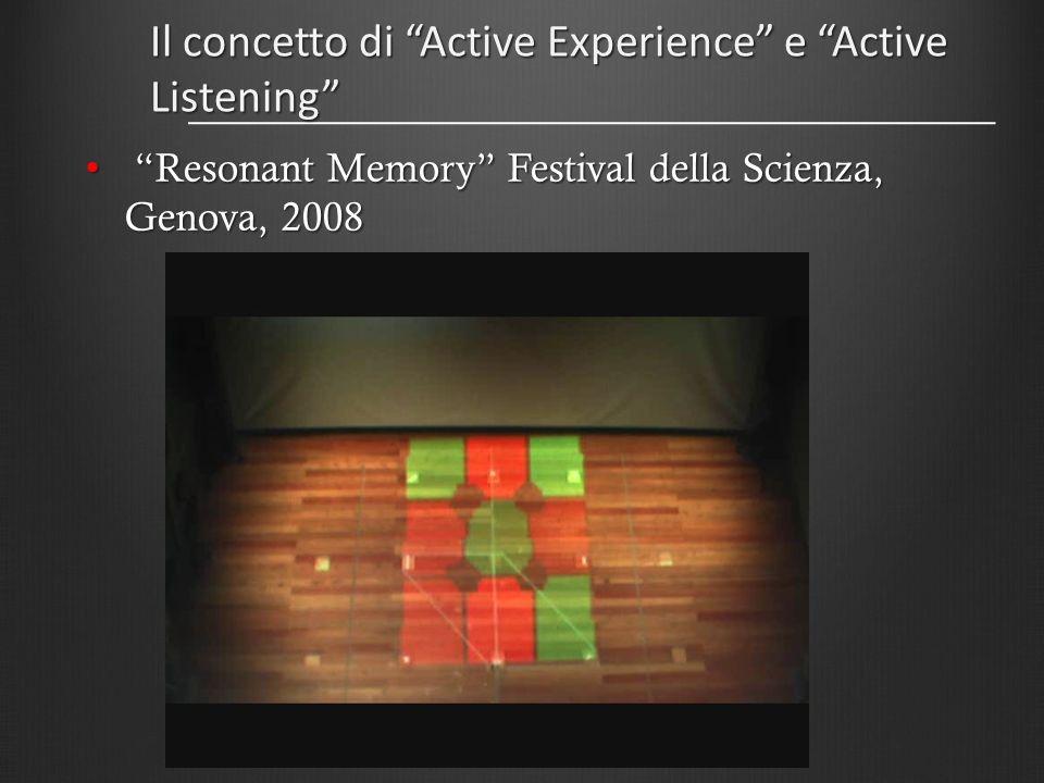 Il concetto di Active Experience e Active Listening Resonant Memory Festival della Scienza, Genova, 2008 Resonant Memory Festival della Scienza, Genov