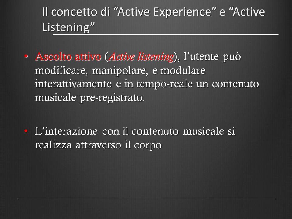 Il concetto di Active Experience e Active Listening Il risultato è un controllo attivo, fisico del contenuto musicale : embodied control of music content Il risultato è un controllo attivo, fisico del contenuto musicale : embodied control of music content