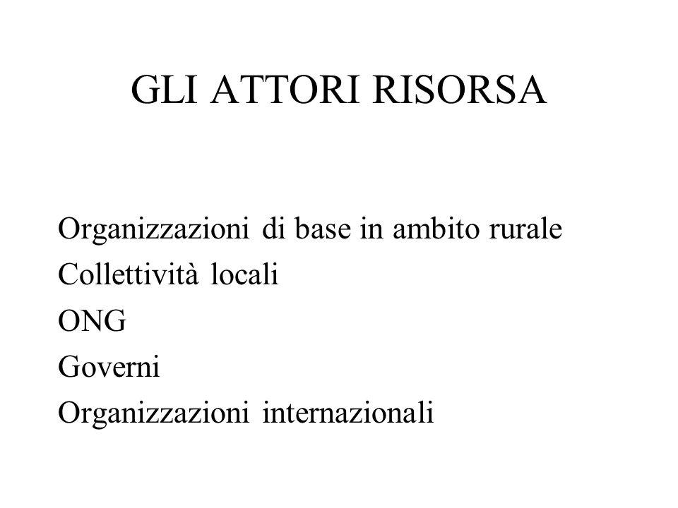 GLI ATTORI RISORSA Organizzazioni di base in ambito rurale Collettività locali ONG Governi Organizzazioni internazionali