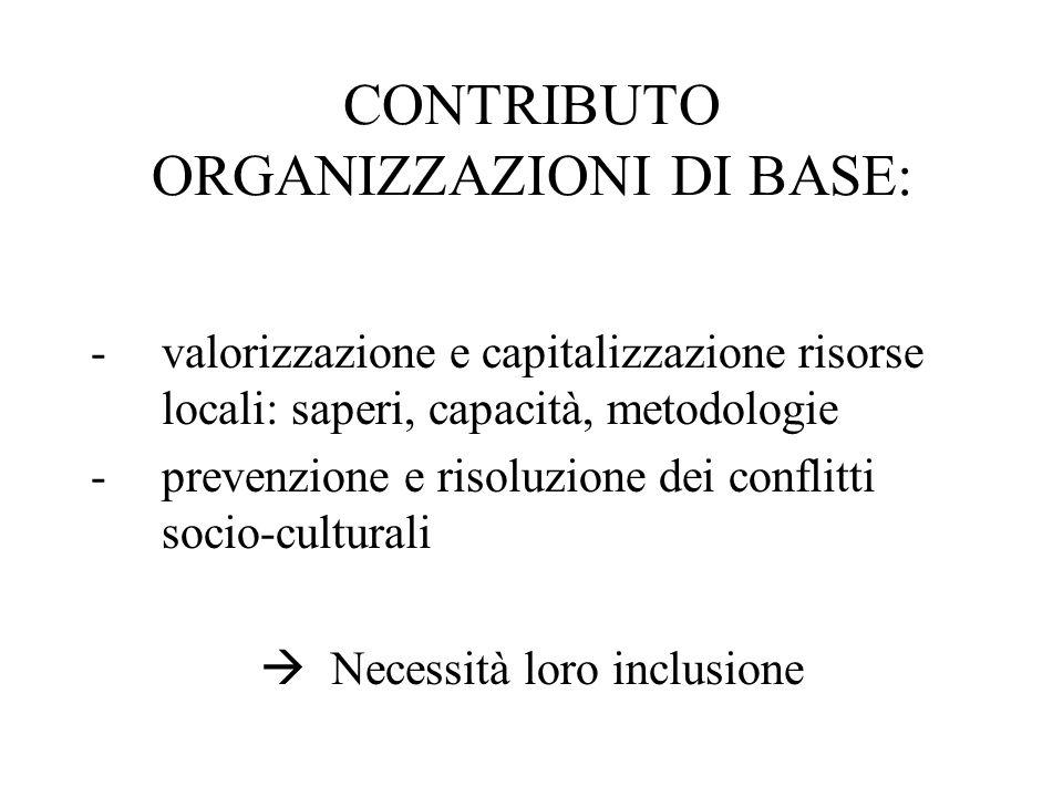 CONTRIBUTO ORGANIZZAZIONI DI BASE: -valorizzazione e capitalizzazione risorse locali: saperi, capacità, metodologie -prevenzione e risoluzione dei conflitti socio-culturali Necessità loro inclusione