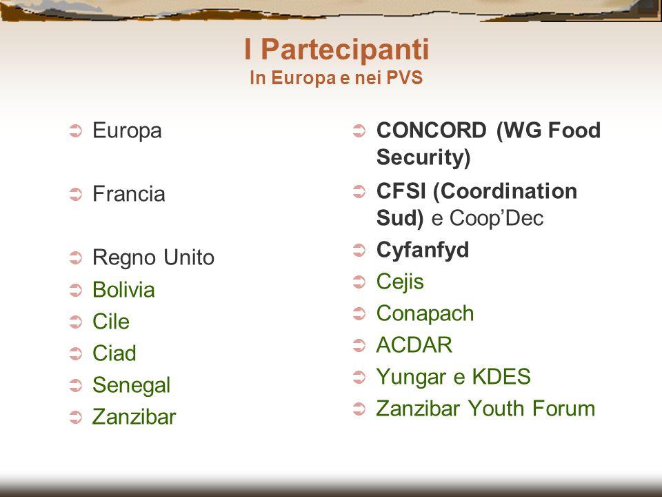 Europa Francia Regno Unito Bolivia Cile Ciad Senegal Zanzibar CONCORD (WG Food Security) CFSI (Coordination Sud) e CoopDec Cyfanfyd Cejis Conapach ACD