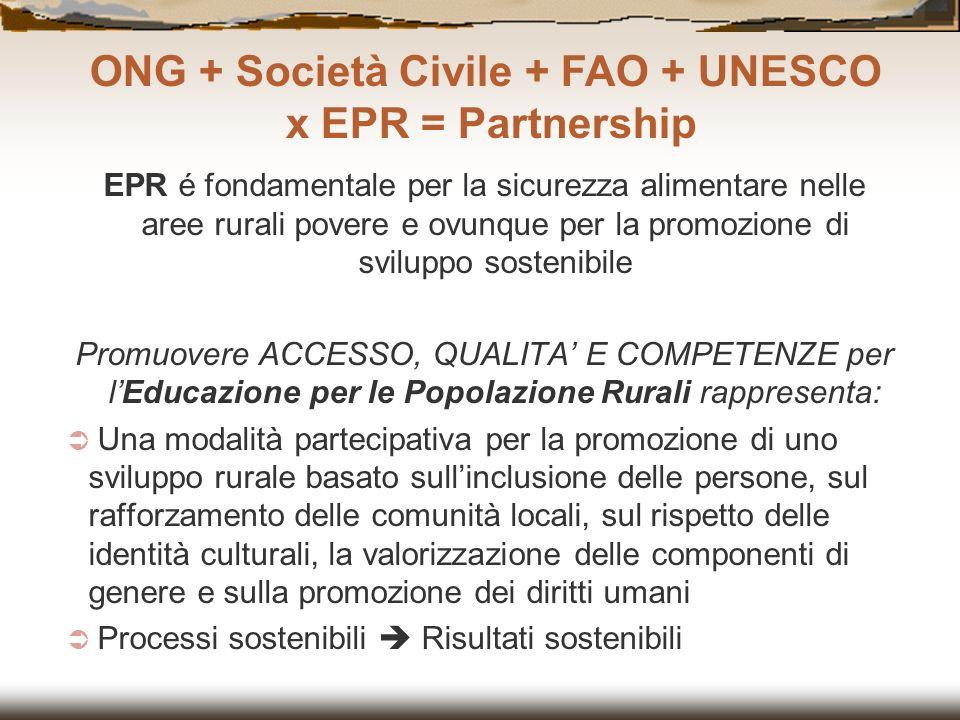 EPR é fondamentale per la sicurezza alimentare nelle aree rurali povere e ovunque per la promozione di sviluppo sostenibile Promuovere ACCESSO, QUALIT