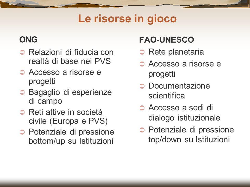 ONG Relazioni di fiducia con realtà di base nei PVS Accesso a risorse e progetti Bagaglio di esperienze di campo Reti attive in società civile (Europa