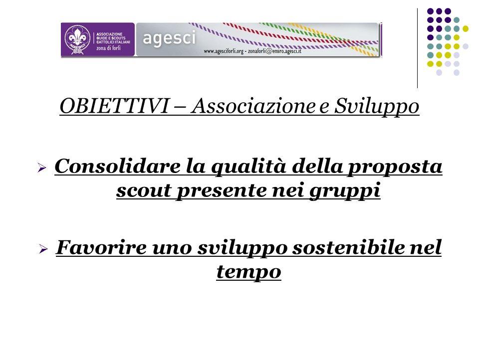 OBIETTIVI – Associazione e Sviluppo Consolidare la qualità della proposta scout presente nei gruppi Favorire uno sviluppo sostenibile nel tempo