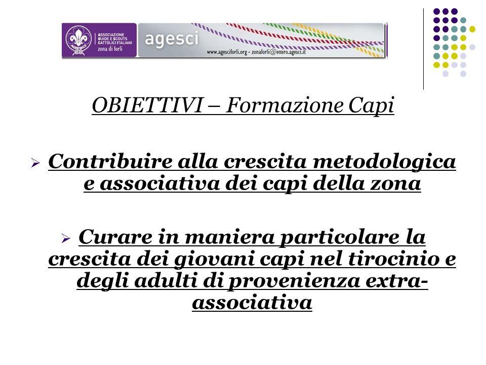 OBIETTIVI – Formazione Capi Contribuire alla crescita metodologica e associativa dei capi della zona Curare in maniera particolare la crescita dei gio
