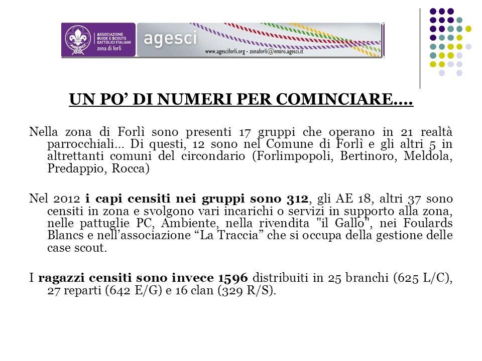 UN PO DI NUMERI PER COMINCIARE…. Nella zona di Forlì sono presenti 17 gruppi che operano in 21 realtà parrocchiali… Di questi, 12 sono nel Comune di F