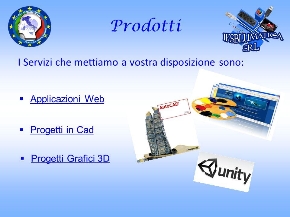 Prodotti I Servizi che mettiamo a vostra disposizione sono: Applicazioni Web Progetti in Cad Progetti Grafici 3D