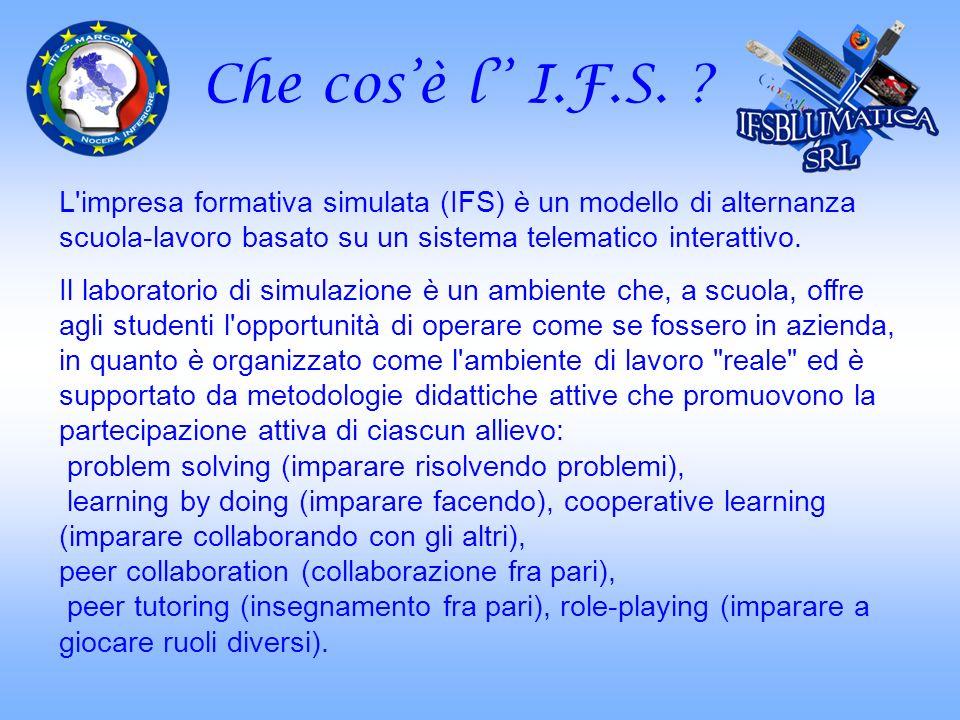 Che cosè l I.F.S. ? L'impresa formativa simulata (IFS) è un modello di alternanza scuola-lavoro basato su un sistema telematico interattivo. Il labora