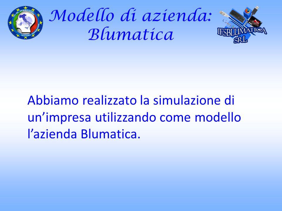 Modello di azienda: Blumatica Abbiamo realizzato la simulazione di unimpresa utilizzando come modello lazienda Blumatica.