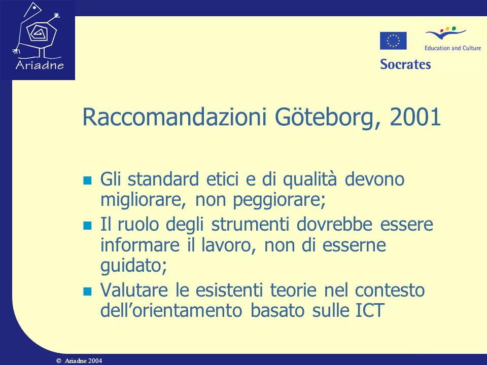 © Ariadne 2004 Raccomandazioni Göteborg, 2001 Gli standard etici e di qualità devono migliorare, non peggiorare; Il ruolo degli strumenti dovrebbe ess