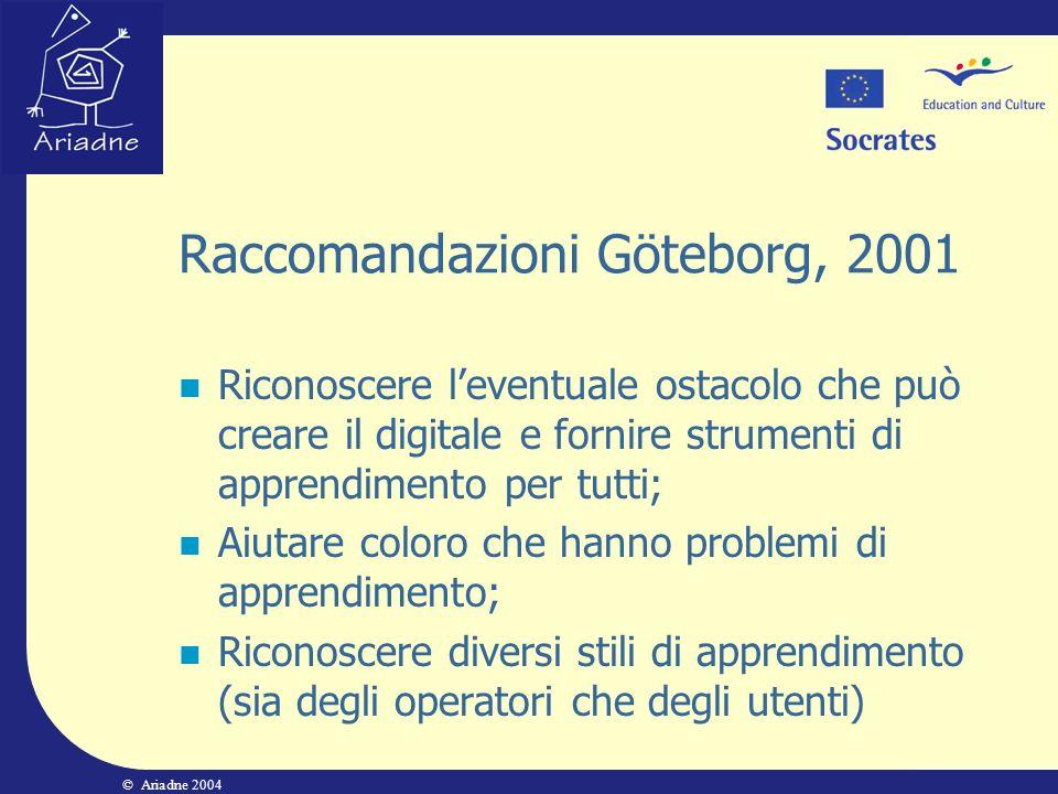 © Ariadne 2004 Raccomandazioni Göteborg, 2001 Riconoscere leventuale ostacolo che può creare il digitale e fornire strumenti di apprendimento per tutt