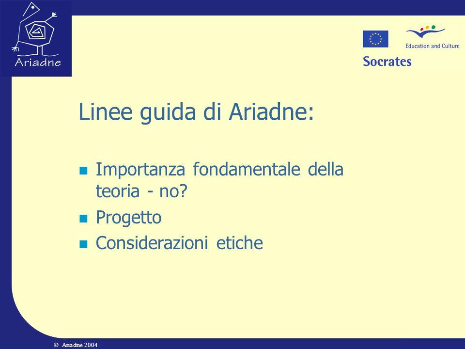 © Ariadne 2004 Linee guida di Ariadne: Importanza fondamentale della teoria - no? Progetto Considerazioni etiche
