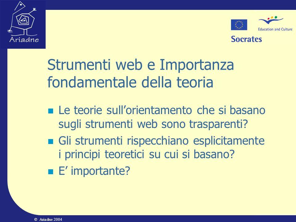 © Ariadne 2004 Strumenti web e Importanza fondamentale della teoria Le teorie sullorientamento che si basano sugli strumenti web sono trasparenti? Gli