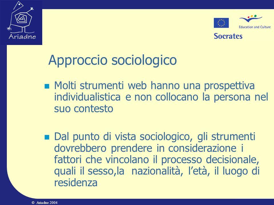 © Ariadne 2004 Approccio sociologico Molti strumenti web hanno una prospettiva individualistica e non collocano la persona nel suo contesto Dal punto