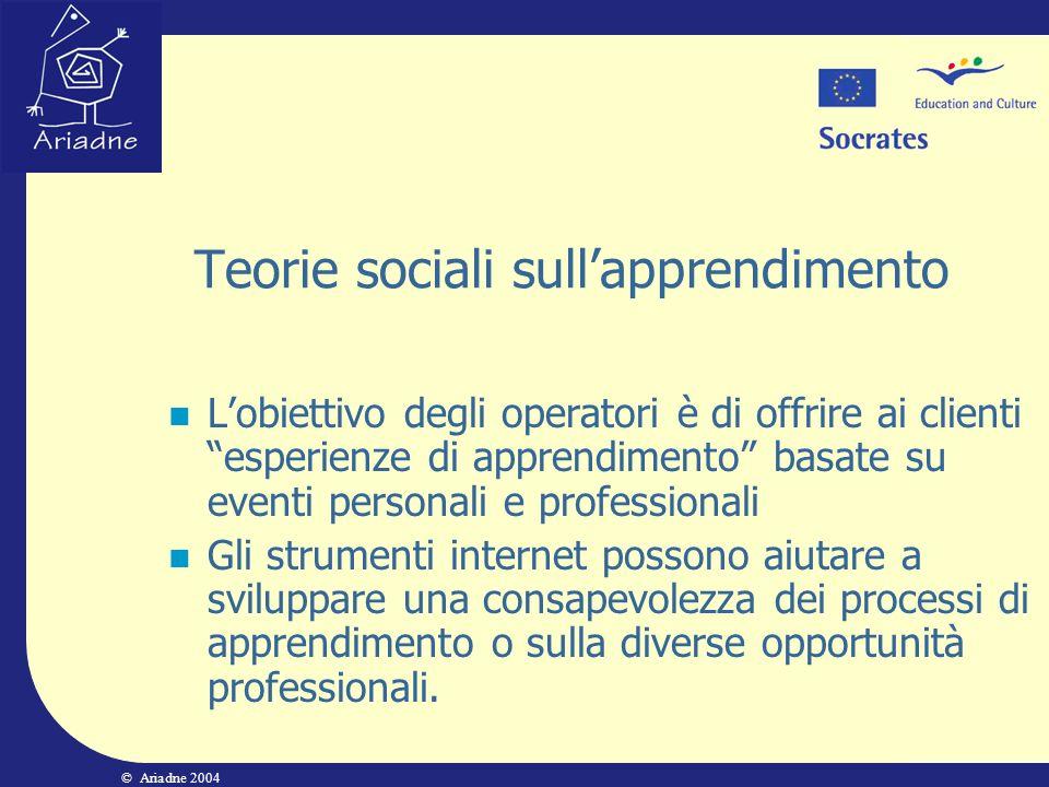 © Ariadne 2004 Teorie sociali sullapprendimento Lobiettivo degli operatori è di offrire ai clienti esperienze di apprendimento basate su eventi person