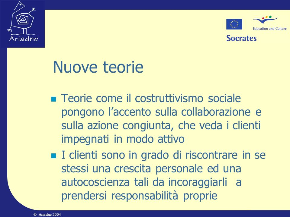 © Ariadne 2004 Nuove teorie Teorie come il costruttivismo sociale pongono laccento sulla collaborazione e sulla azione congiunta, che veda i clienti i