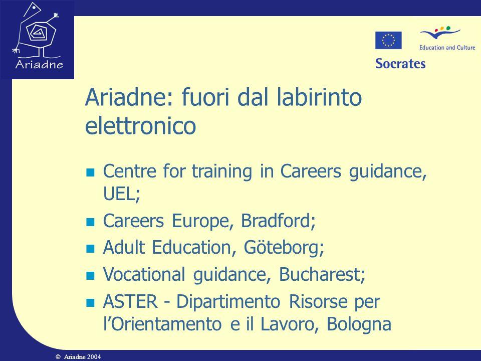 © Ariadne 2004 Ariadne: fuori dal labirinto elettronico Centre for training in Careers guidance, UEL; Careers Europe, Bradford; Adult Education, Göteb