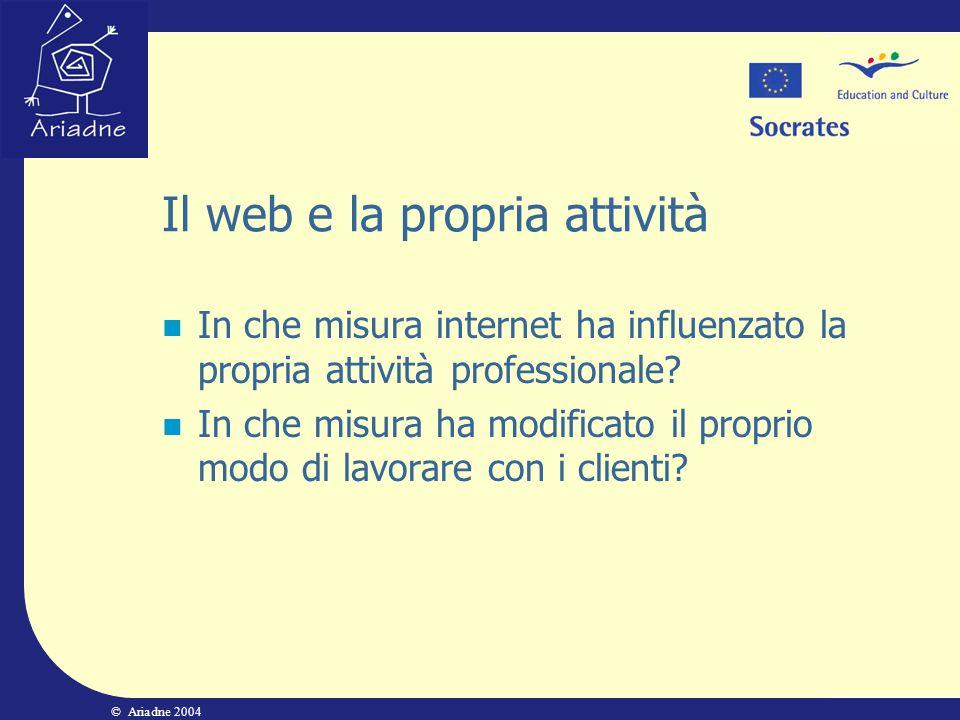 © Ariadne 2004 Il web e la propria attività In che misura internet ha influenzato la propria attività professionale? In che misura ha modificato il pr