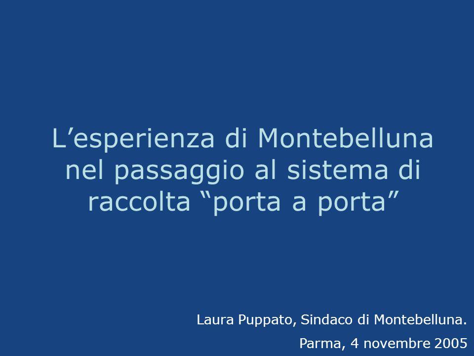 Lesperienza di Montebelluna nel passaggio al sistema di raccolta porta a porta Laura Puppato, Sindaco di Montebelluna. Parma, 4 novembre 2005