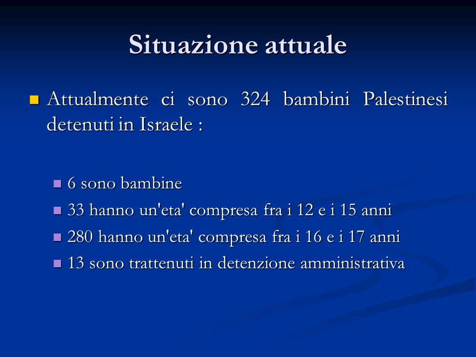Situazione attuale Attualmente ci sono 324 bambini Palestinesi detenuti in Israele : Attualmente ci sono 324 bambini Palestinesi detenuti in Israele : 6 sono bambine 6 sono bambine 33 hanno un eta compresa fra i 12 e i 15 anni 33 hanno un eta compresa fra i 12 e i 15 anni 280 hanno un eta compresa fra i 16 e i 17 anni 280 hanno un eta compresa fra i 16 e i 17 anni 13 sono trattenuti in detenzione amministrativa 13 sono trattenuti in detenzione amministrativa