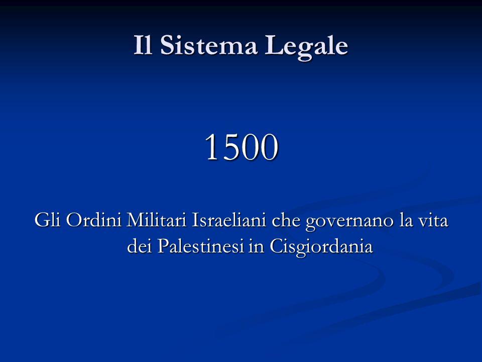 Il Sistema Legale 1500 Gli Ordini Militari Israeliani che governano la vita dei Palestinesi in Cisgiordania
