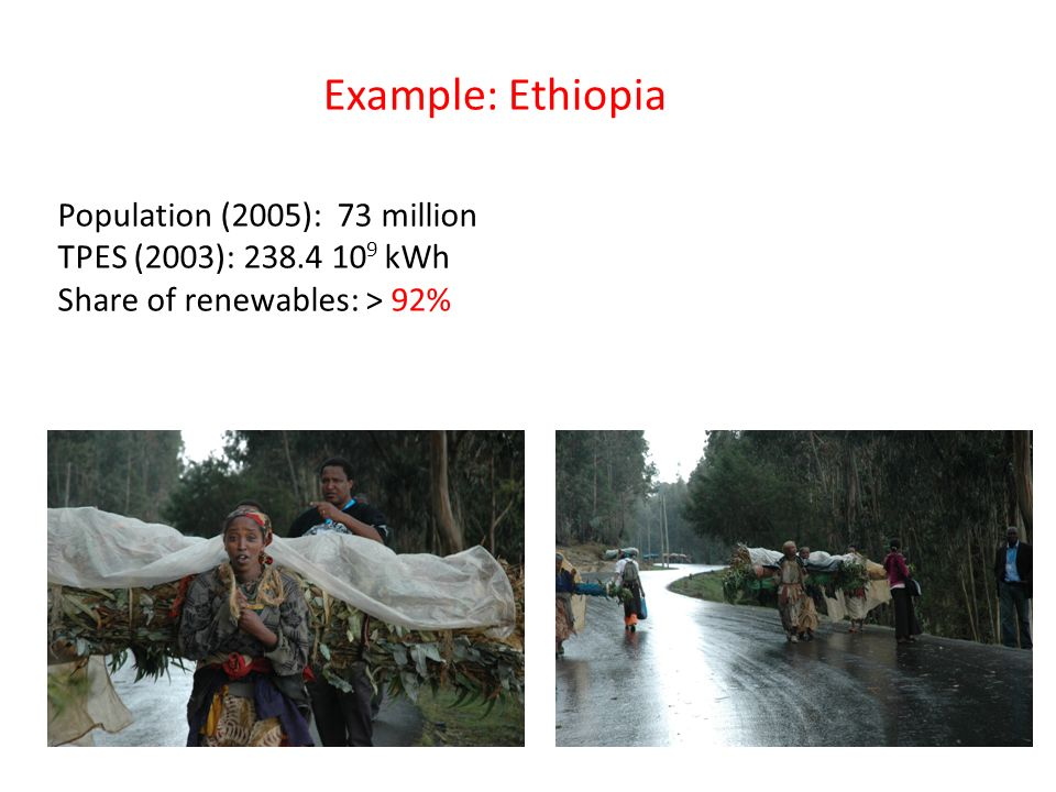 Example: Ethiopia Population (2005): 73 million TPES (2003): 238.4 10 9 kWh Share of renewables: > 92%