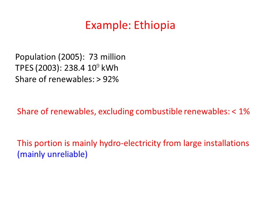 Example: Ethiopia Population (2005): 73 million TPES (2003): 238.4 10 9 kWh Share of renewables: > 92% Share of renewables, excluding combustible renewables: < 1% This portion is mainly hydro-electricity from large installations (mainly unreliable)