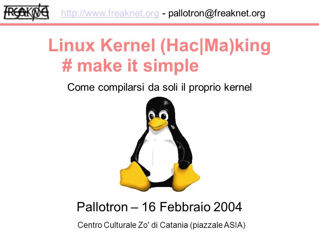 Linux Kernel (Hac|Ma)king Come compilarsi da soli il proprio kernel http://www.freaknet.orghttp://www.freaknet.org - pallotron@freaknet.org # make it simple Pallotron – 16 Febbraio 2004 Centro Culturale Zo di Catania (piazzale ASIA)