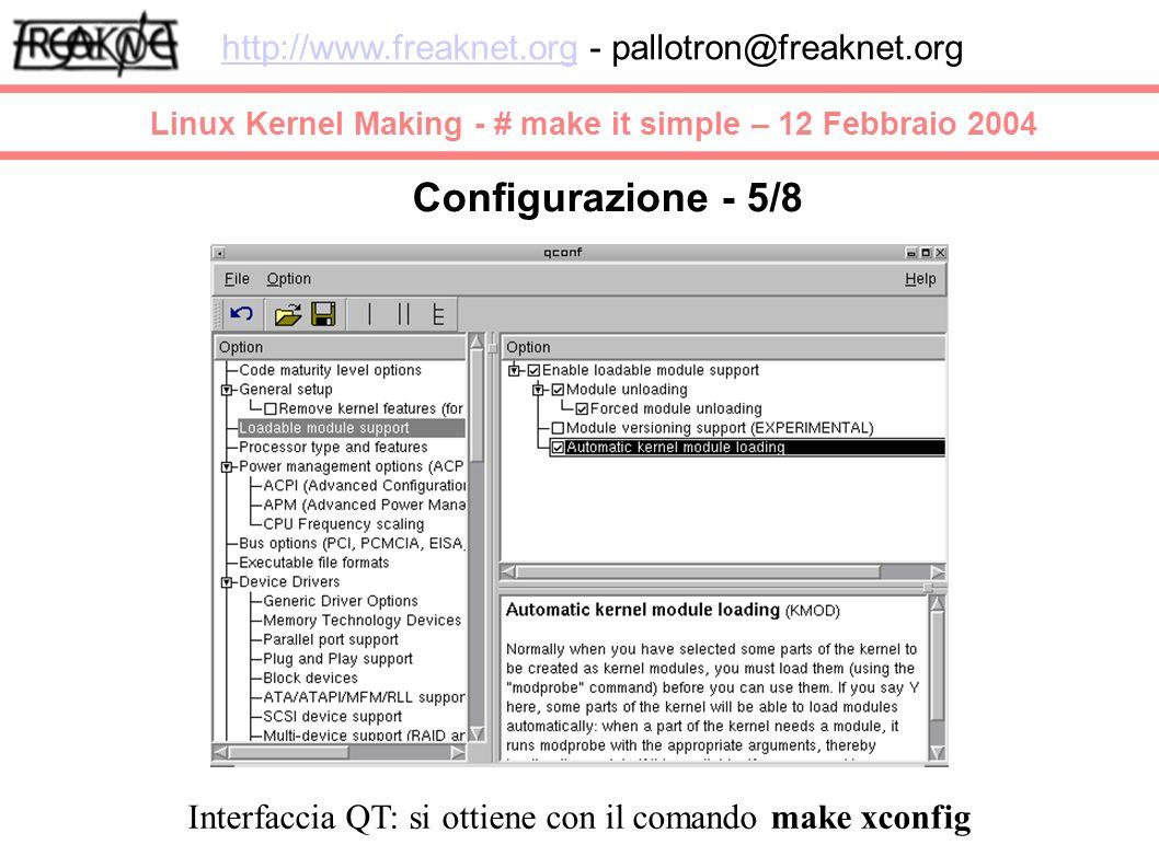 Linux Kernel Making - # make it simple – 12 Febbraio 2004 http://www.freaknet.orghttp://www.freaknet.org - pallotron@freaknet.org Configurazione - 5/8 Interfaccia QT: si ottiene con il comando make xconfig