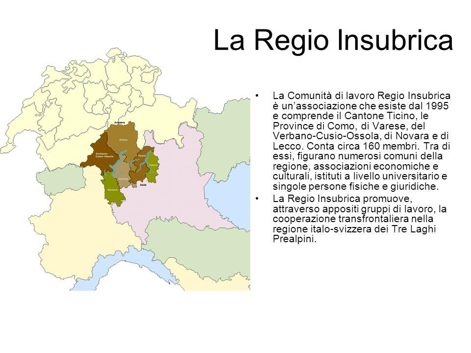 La Regio Insubrica La Comunità di lavoro Regio Insubrica è unassociazione che esiste dal 1995 e comprende il Cantone Ticino, le Province di Como, di V