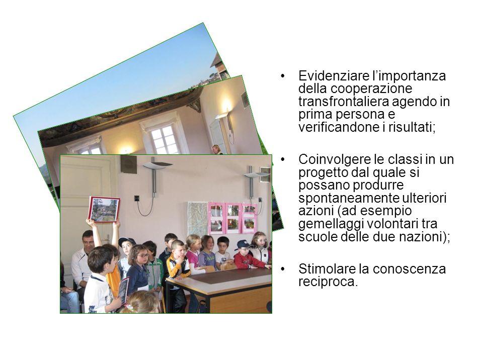 Evidenziare limportanza della cooperazione transfrontaliera agendo in prima persona e verificandone i risultati; Coinvolgere le classi in un progetto