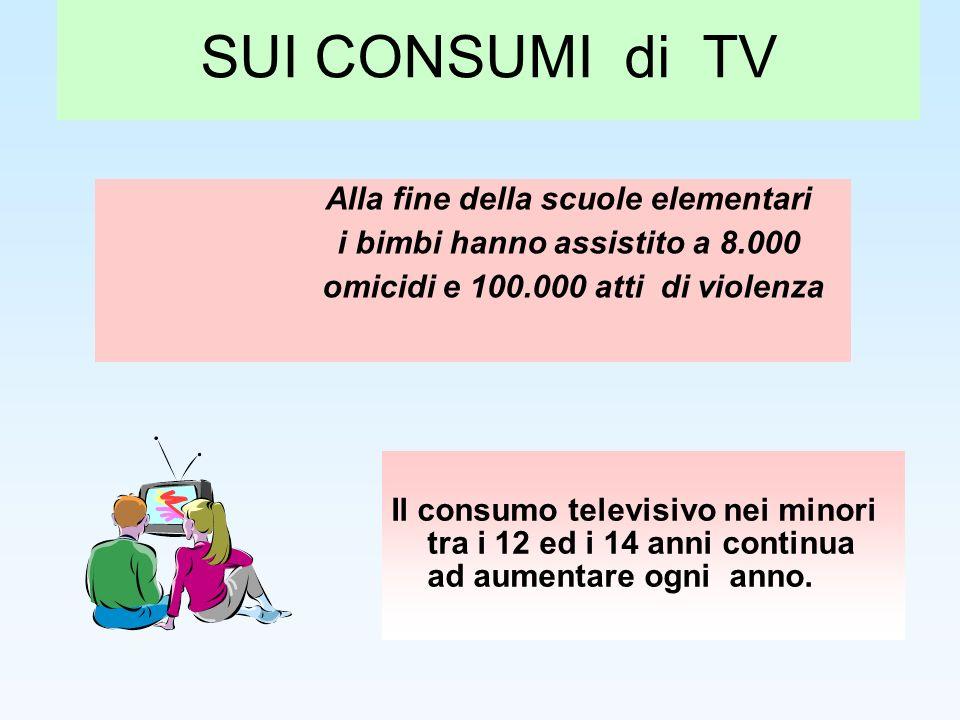 SUI CONSUMI di TV Il consumo televisivo nei minori tra i 12 ed i 14 anni continua ad aumentare ogni anno. Alla fine della scuole elementari i bimbi ha