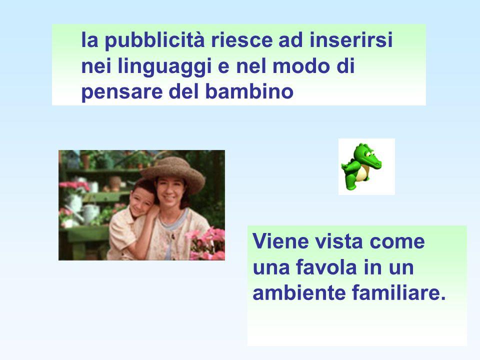 la pubblicità riesce ad inserirsi nei linguaggi e nel modo di pensare del bambino Viene vista come una favola in un ambiente familiare.