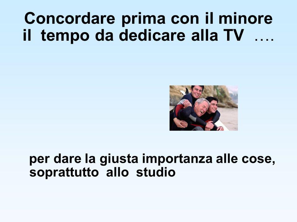 Concordare prima con il minore il tempo da dedicare alla TV …. per dare la giusta importanza alle cose, soprattutto allo studio