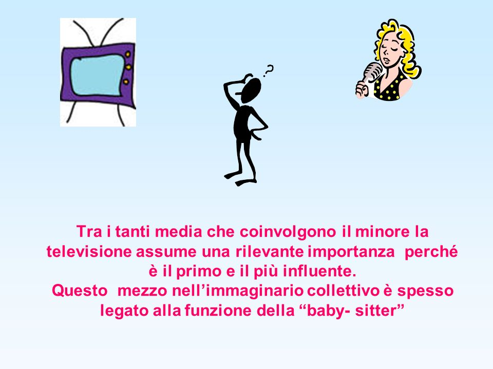 Bambini e televisione Il 30% fra le 2 e le 3 ore al giorno Il 21% fra le 3 e le 4 ore al giorno Più del 20% oltre 4 ore al giorno Durante la scuola dellobbligo i bambini dedicano 15.000 ore alla tv e 11.000 ore allo studio Circa 4 milioni di bambini italiani tra i 3 e i 10 anni guardano la televisione per un tempo medio di circa 2 ore e 40 minuti al giorno
