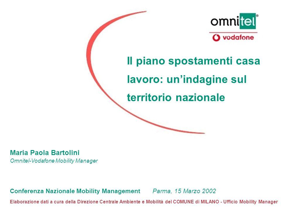 Il piano spostamenti casa lavoro: unindagine sul territorio nazionale Maria Paola Bartolini Omnitel-Vodafone Mobility Manager Conferenza Nazionale Mob
