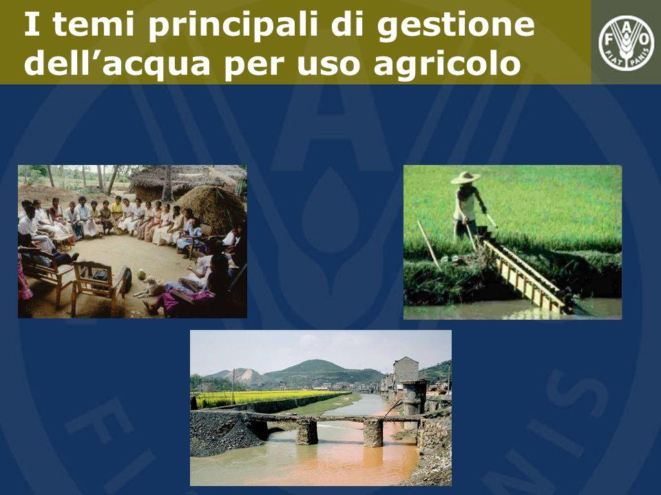 I temi principali di gestione dellacqua per uso agricolo