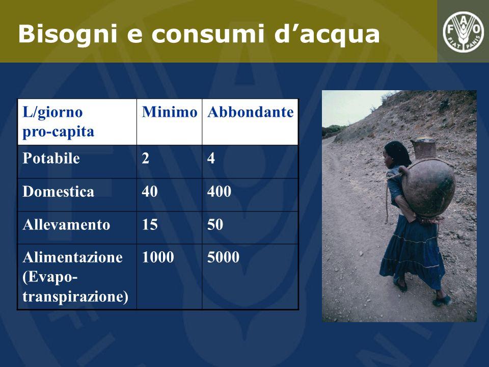 Bisogni e consumi dacqua L/giorno pro-capita MinimoAbbondante Potabile24 Domestica40400 Allevamento1550 Alimentazione (Evapo- transpirazione) 10005000