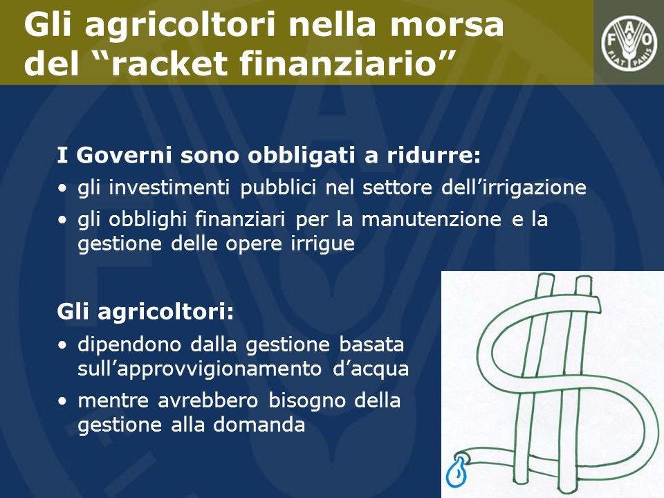 I Governi sono obbligati a ridurre: gli investimenti pubblici nel settore dellirrigazione gli obblighi finanziari per la manutenzione e la gestione de