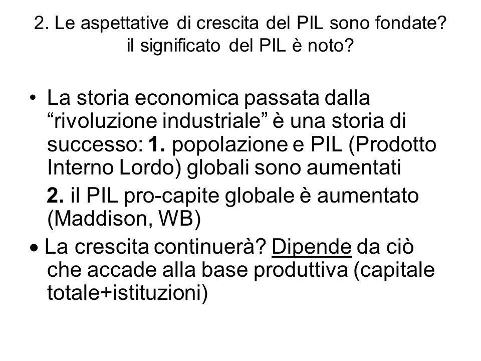2. Le aspettative di crescita del PIL sono fondate? il significato del PIL è noto? La storia economica passata dalla rivoluzione industriale è una sto