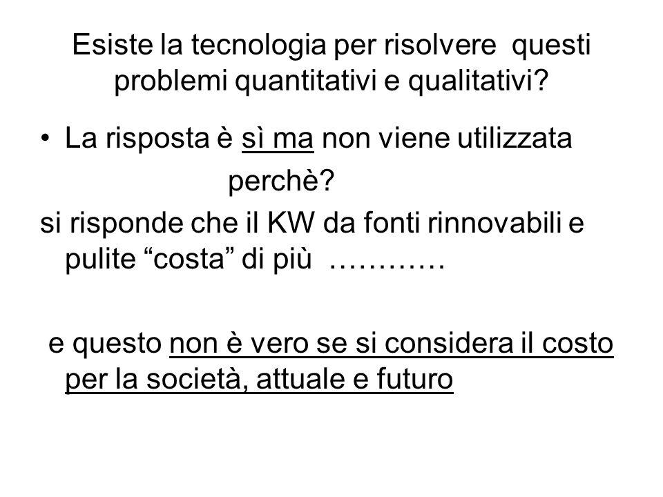Esiste la tecnologia per risolvere questi problemi quantitativi e qualitativi? La risposta è sì ma non viene utilizzata perchè? si risponde che il KW