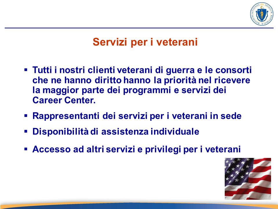 Servizi per i veterani Tutti i nostri clienti veterani di guerra e le consorti che ne hanno diritto hanno la priorità nel ricevere la maggior parte dei programmi e servizi dei Career Center.