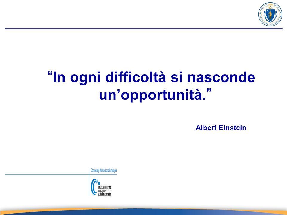 In ogni difficoltà si nasconde unopportunità. Albert Einstein