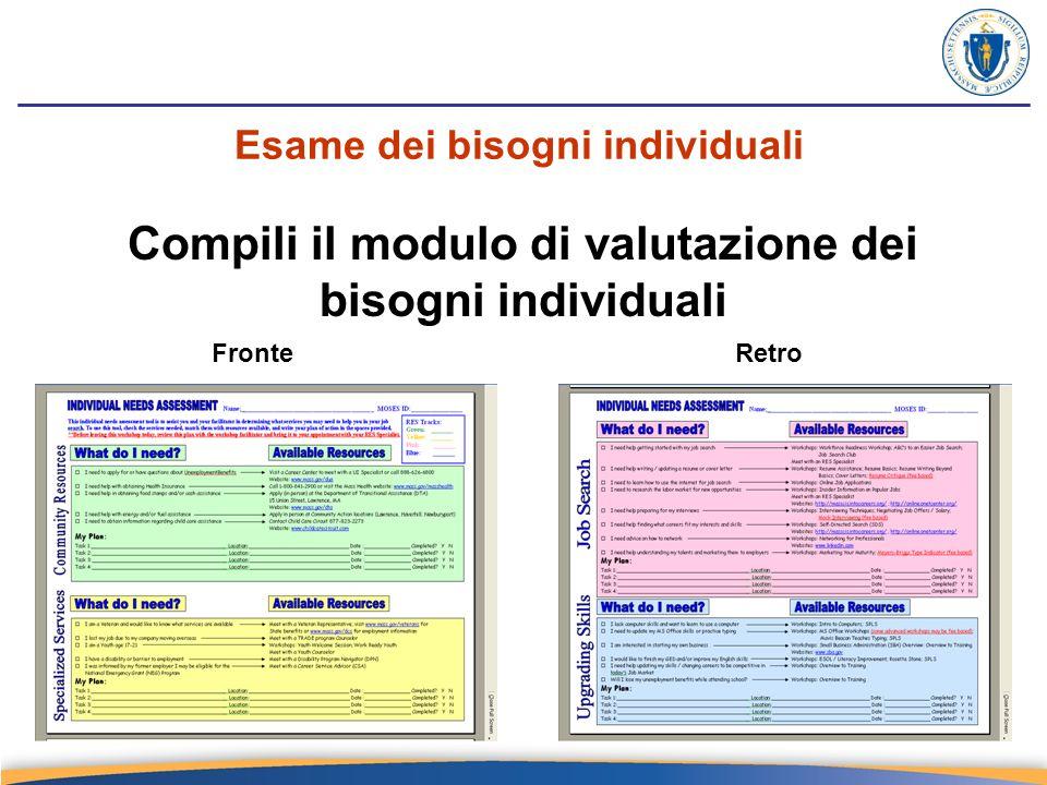 Esame dei bisogni individuali Compili il modulo di valutazione dei bisogni individuali FronteRetro