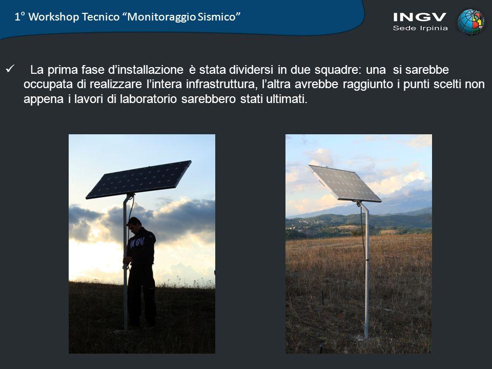 1° Workshop Tecnico Monitoraggio Sismico La prima fase dinstallazione è stata dividersi in due squadre: una si sarebbe occupata di realizzare lintera