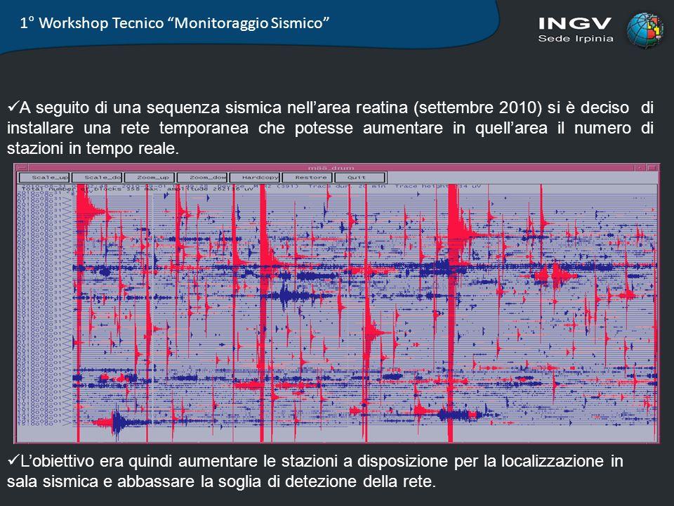 1° Workshop Tecnico Monitoraggio Sismico A seguito di una sequenza sismica nellarea reatina (settembre 2010) si è deciso di installare una rete tempor