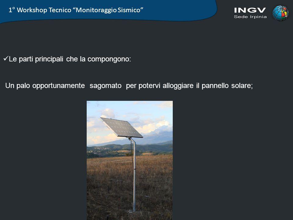 1° Workshop Tecnico Monitoraggio Sismico Le parti principali che la compongono: Un palo opportunamente sagomato per potervi alloggiare il pannello sol